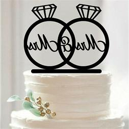 Mrs and Mrs, 2 Rings Cake Topper, Lesbian Wedding Decoration