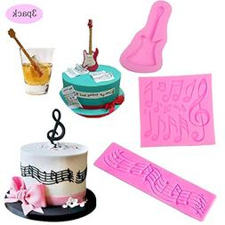 Multi Music Note Lace Silicone Mold and Guitar Music Note Ca