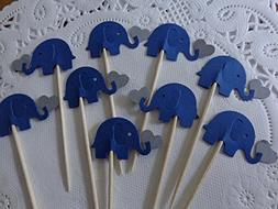Navy Blue Elephants Holding Grey Hearts Cupcake Toppers - Na
