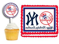 New York Yankees  Edible Birthday Party Decoration Cake Topp
