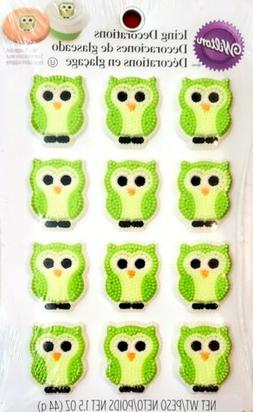 Green Owls Icing Cake Decorations  Baby Shower Cupcake Toppe