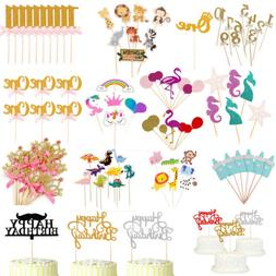 Paper Cake Topper Baby Shower Happy Birthday Party Cupcake F