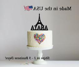 Paris Eiffel Tower Cake Topper, Birthday Decor Personalized