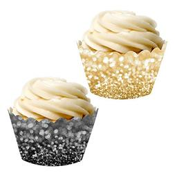 Andaz Press Party Cupcake Wrapper Decorations, Faux Black an