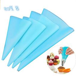 Pastry Bag Pack of 8 Multi Size Reusable EVA Icing Piping Pa