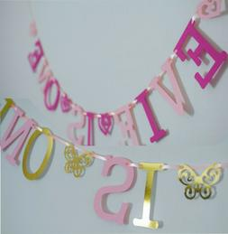 Personalised GIRLS 1st BIRTHDAY BANNER PINK Bunting CAKE SMA