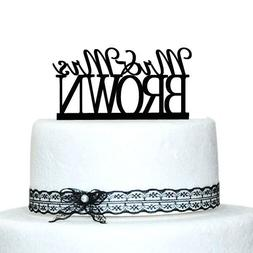 Buythrow Personalized Last Name Topper,custom Mr and Mrs Cak