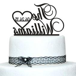 Buythrow Personalized Name and Date Wedding Cake Toppers
