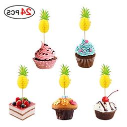 Pineapple Cake Topper Set of 24 Cupcake Toppers for Hawaii W