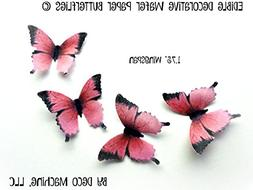 Pink Black Wafer Paper Butterflies 1.75 Inch for Decorating