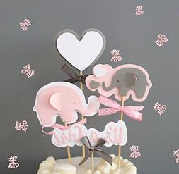 Pink Elephant Cake Topper It's a Girl Heart Pink Confetti Pi