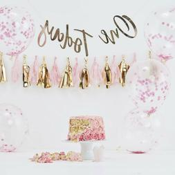 Pink Gold Baby Girl 1st Birthday Party Decorations Cake Smas