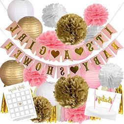 Pink and Gold Baby Shower Decorations for Girl | 37 Pieces |