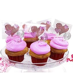 Sticker Bling Bling Pink Hearts Party Favor & Cupcake Decora