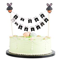 LVEUD Pink Mini Happy Birthday Cake Topper Banner- Party Cak
