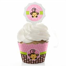 Pink Monkey Girl - Baby Shower or Birthday Party Cupcake Wra