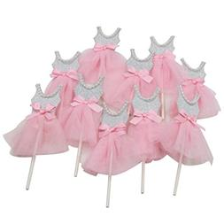 Mybbshower Pink Silver Ballerina Cupcake Toppers for Tutu Pa