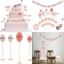 PINK WHITE GREY Baby Girl Shower Decorations Elephant For Ca