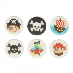 Pirate Sugar Disk Cake Decorations - Pack of 12
