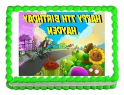 PLANTS VS. ZOMBIES edible party cake topper decoration frost