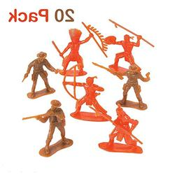 Plastic Cowboys And Indians Figures - Pack Of 20 - 2.25 - 3.