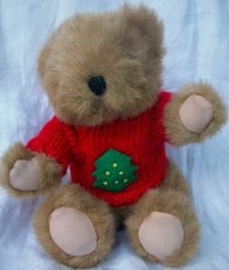 "8"" Plush Light Brown Teddy Bear Wearing Red Christmas Tree H"