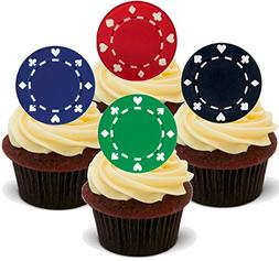 12 x Poker Chips Green Black Blue Red Mix Casino Gambling -
