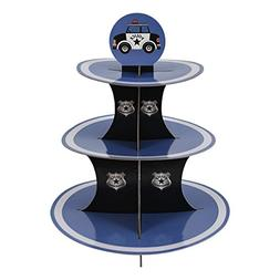 Police Party Cupcake Stand & Pick Kit, Police Party Supplies