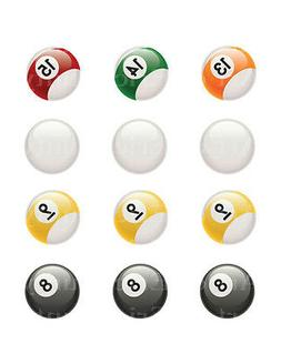 Pool Balls 13-15 Cue Ball 9 & 8 ~ Frosting Sheet Cake Topper