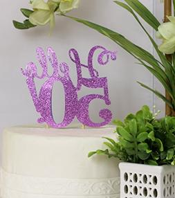 purple hello 50 cake topper