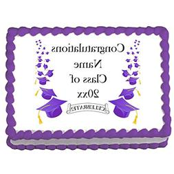 Purple Mortarboard Custom Edible Image  - Customized by Part