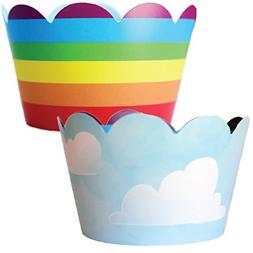 Rainbow Cupcake Wrappers, Unicorn Party Supplies, 36 Cloud C