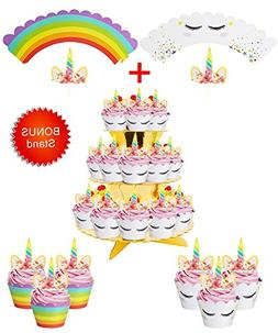 Rainbow Unicorn Cupcake Toppers and Wrappers w BONUS Gold Cu