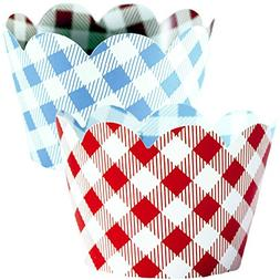 Red Checkered Cupcake Wrappers, 36, Farm Animals Birthday Pa