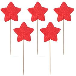 Tinksky 10pcs Red Star Cake Cupcake Decorations Toppers Pick