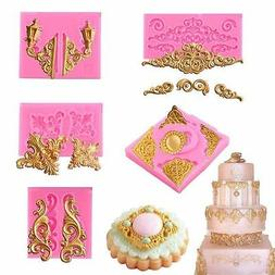Relief Baroque Silicone Fondant Mould Vintage Cake Decor Bor