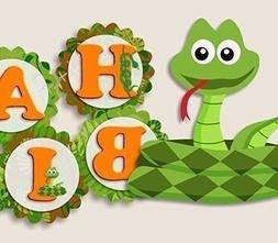"""Reptile Snake Birthday Banner Party Decorations Supplies - """""""