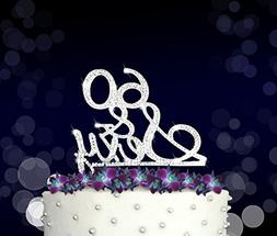 Rhinestone Crystal Cake Topper Silver, Gold Numbers, Letters