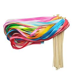 HANGNUO 30 Pack Wedding Wands Ribbon Streamers with Bell Fai
