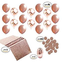 120 pc Rose Gold Party Decorations & Bridal Shower Decoratio