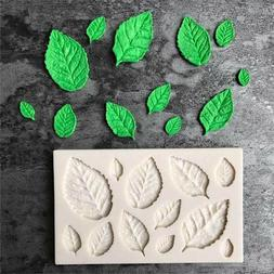 Rose Leaves Embellisment Silicone Fondant Mould Cake Decor S