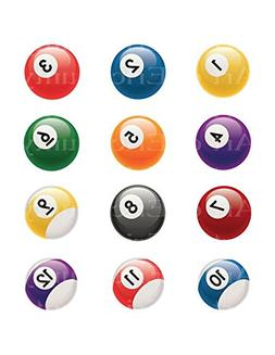 "2"" Round - Pool Balls 1 through 12 Birthday - Edible Cake/Cu"