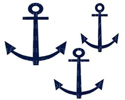 "2"" Round - Navy Sailing Anchors Birthday - Edible Cake/Cupca"