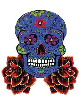 "8"" Round - Blue Sugar Skull & Roses Halloween Birthday - Edi"