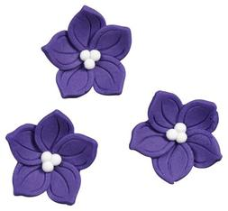 Royal Icing Decorations, Purple Posy, 12pk