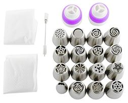 Russian Piping Tips Set  | 15 Stainless Steel Icing Nozzles,