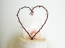 Rustic Silver Pip Berry Heart Wreath Wedding Cake Topper by