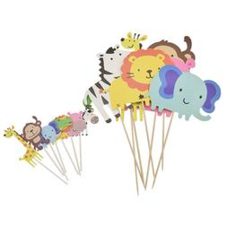 Safari Animal Cake Toppers Cupcake Decoration Kids Birthday