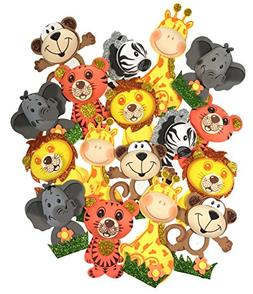 AVELLIM 18 Small Safari Jungle Zoo Animals  Foam Decorations