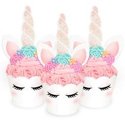 Set of 24 Unicorn Cupcake Toppers + Wrappers Baby Shower Uni